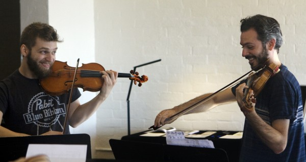 l to r: Johnny Gandelsman, left, and Colin Jacobsen, members of the Brooklyn Rider quartet, performers and artistic directors in this year's Laguna Music Festival.