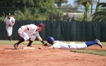 Sophomore second baseman Robbie McInerny applies the tag on a would-be base stealer, ending the inning and El Segundo's threat.