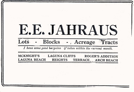 An early ad placed by E.E. Jahraus.