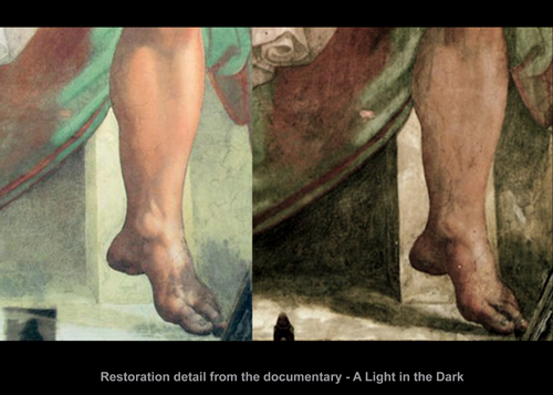 Examples from the Sistine Chapel before and after restoration.