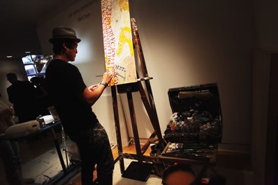 Bluecanvas sponsored four live artists including John Park (pictured here) who entertained attendees as they created works of art throughout the night.