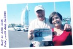 Ken and Evelyn Hobe outside Burj Al Arab Hotel in Dubai, United Arab Emirates, considered the world's only seven star hotel, which rises from an artificial island.