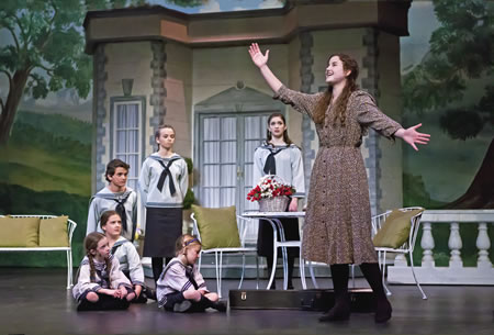 "Chandler Davis, as the governess Maria, sings ""Do-Re-Mi"" to the Von Trapp children."