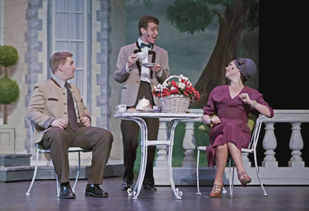 Jackson Tupy, left, Elan Kramer and the captain's fiancé, played by Karina Parker, enjoy a cup of tea.
