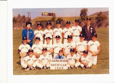 The 1969 Elks Club's Little League team. As an adult, Mark Christie, (center, second row) continues to support the league.