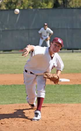 Sophomore Grant Wilhelm anchors Laguna's pitching staff. Photo by Bill Rees.