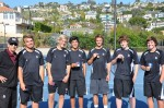 League champs, from left: Coach Don Davis; Andrew Koumas and Casey Kimball, OC League doubles finalists; Morgan Lebby, OC League singles finalist; Teague Hamilton, OC League singles champion; Matt Meisberger and Jared Boetes, OC League doubles, third place. Photo by Tijana Hamilton.