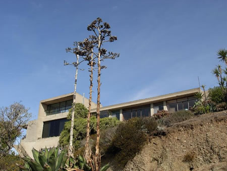 The distinctive modernist look of Halliburton's 1930s built home in South Laguna.