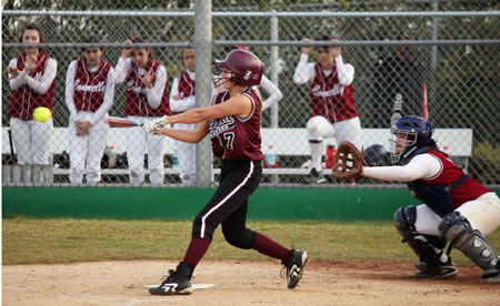 Haley Putnam, batting in game last year, wielded the big stick for Laguna this past Tuesday, going three for four at the plate with two doubles and a triple.