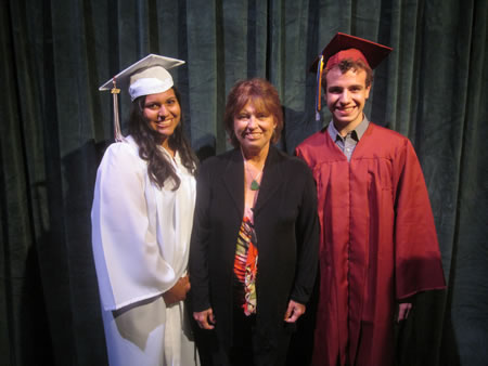 Myrna Heitel Music Scholarship recipients Noelle Martinez (left) and Elan Kramer (right). Photo by Marsha Aronoff.