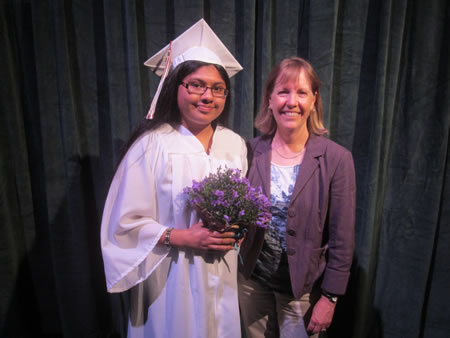 Laguna Beach Garden Club Scholarship recipient Yaretsi Mendoza (left). Photo by Marsha Aronoff.