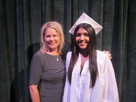 LBHS Class of 1998 Scholarship recipient Melanie Arteaga (right). Photo by Marsha Aronoff.