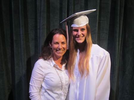 Dick Maetz Surf Foundation Scholarship recipient Lauren Montgomery (right). Photo by Marsha Aronoff.
