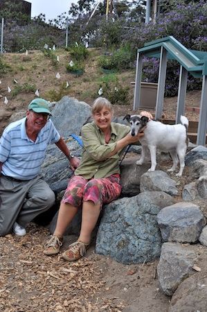 Ann Christoph, right, with Bill Rihn in the South Laguna Community Garden.