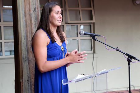 Olympic water polo player and alumna Annika Dries expressed her appreciation for hometown support that buoyed her confidence. Photo by Jody Tiongco