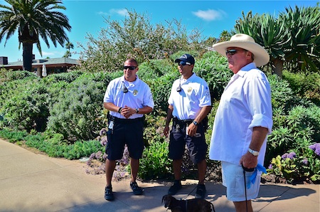Sean Schuelter meets up with Laguna's beach patrol in Treasure Island Park. Photo by Danielle Robbins