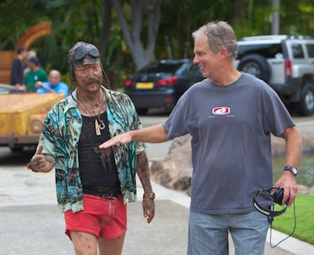 "Local film director Rob Hedden, right, on location in Hawaii with actor Rob Schneider, who stars in ""You May Not Kiss the Bride,"" opening next month nationally."