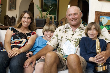Alisa Schwarzstein-Cairns and her family at home in Laguna Beach, earlier when he was inducted into Hall of Fame.