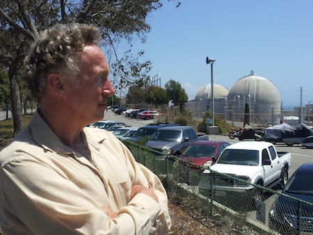 Anti-nuclear-power advocate Gary Headrick, outside the San Onofre plant, praised Laguna for opposing fuel storage at the plant.