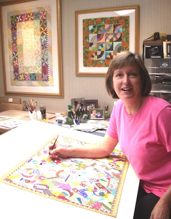 Molly Hutchings working in her studio.