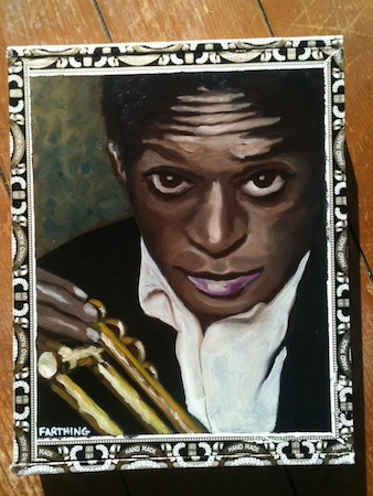 A cigar box portrait of Miles Davis