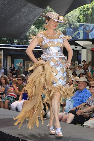 Annette Wimmer's party ensemble made of newspaper, foil, packaging material, shopping bags and pull tabs. (Photo by Cliff Wassmann)