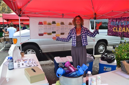 Jamie Jensen of Living Juices serves up samples of her selection of raw, organic cold pressed, unpasteurized juices, offered a la carte or as part of one-, three- and five-day juice cleanses.