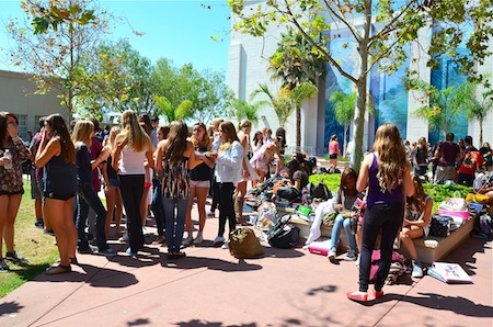 Lunchtime at the high school quad seems extremely busy, but the campus actually experienced a drop in enrollment this year. Photo by Danielle Robbins