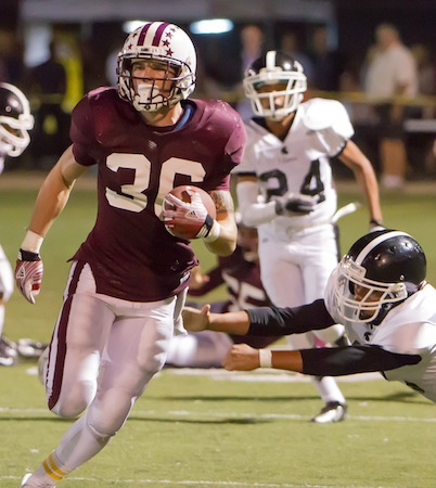 Drake Martinez runs back Pioneer's second-half opening kickoff for his 45th career touchdown; the 98-yard return was the third longest in 78 seasons of Laguna football.