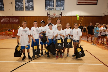 "6th-8th grade winning team - ""We Couldn't Think of a Name"" included, from left, Charlie Rounaghi, Grady Morgan, Adam Armstrong, (rear) coach Max Morgan and Cameron Garcia; (front row) Owen McMurray, Jake Levine, Sophia Lucas and Isabel Mansour."