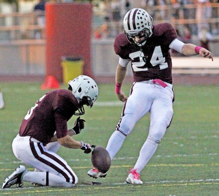 Senior place kicker Robbie McInerny. Photo by Dante Fornaro.