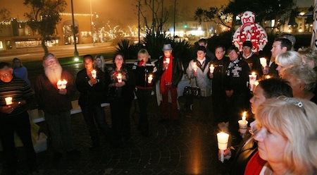 Fog cast an appropriately ghostly gloom over last year's vigil.