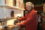 First time exhibitor Sandy Groves, maintains a studio in Laguna Canyon, arranges his creations for sale.