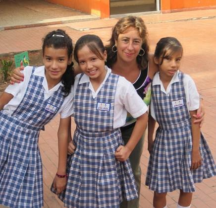 Margarita Martin with some of the students her group supports.