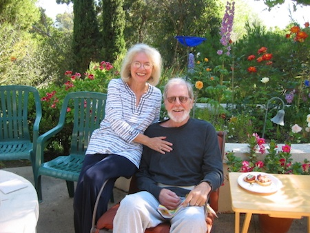 Co-authors Margot and Rowland Davis in the backyard of their Laguna Beach home.