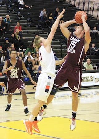 Jake Dalke rises above the Cypress defense in the Godinez Invitational Tournament.