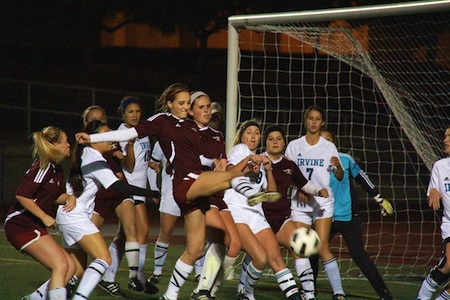 Breakers start their title defense Tuesday, Jan. 8, at 5 p.m. at Guyer Field against Saddleback. Audrey Pillsbury takes a shot against Irvine at an earlier match, Dec. 18.