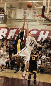 Sophomore Bryan Ludloff floats one to the hoop against Godinez in Laguna's 48-24 home win last Friday.