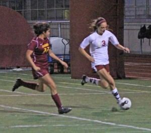 Sophomore Audrey Pillsbury drives the ball against Estancia in Laguna's 1-1 tie at home last Thursday.