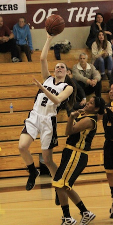 Junior Kyra Humphries goes up for two on a break away layup against Godinez in Laguna's 43-36 home loss Jan. 17.