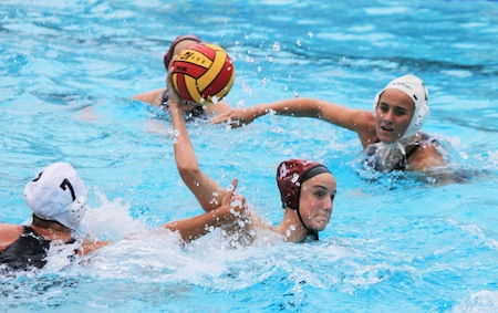 Sophomore Makenzie Fischer fires in one of her two goals during Laguna's 10-4 home loss last Friday against Orange County's second-ranked Newport Harbor