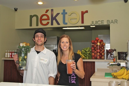 Juicer Richie Gebhard, of La Habra, and Newport Beach's Rachel Turney, Nekter's store operations vice president, ready the Laguna shop for opening on Friday, Jan. 25. Photo by Matt Cole