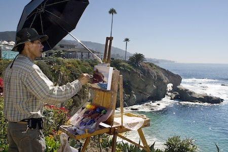 Michael Situ, an award-winning member of the Laguna Plein Air Association, found the Treasure Island beach arch a fitting subject during the organization's 2010 contest.