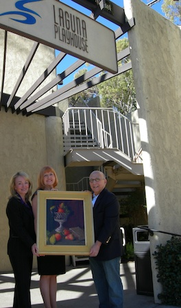 Donor Matt Lawson, right, with Playhouse executives Elizabeth Pearson (left) and Karen Wood.