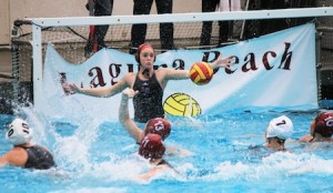 Junior Jenna Knott stretches for a shot against Orange County's #2 ranked Newport Harbor.