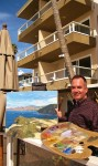 Artist Doug Stotts at work on location.