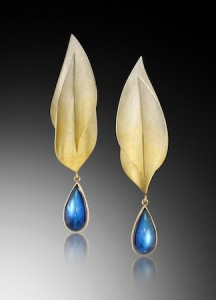 Award-winning moonstone earrings, already sold, priced at under $6,000.