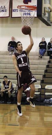 Junior Matt Jones scores on a fast break layup in the Laguna's win against Calvary Chapel on  Tuesday, Feb. 5.