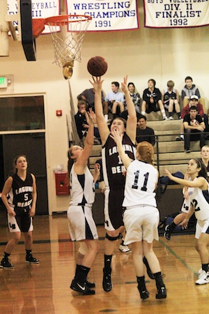 Junior Jane Wallin puts up a shot in traffic in Laguna's win over Calvary Chapel.
