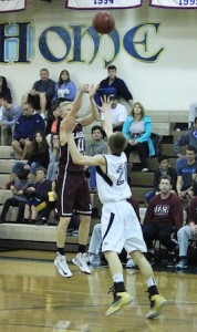 Junior Alec Wulff attempts a three in Laguna's win against Calvary Chapel.
